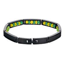 "Black Stainless Steel Ilde de Orula Bracelet Santeria Green Yellow Babalawo 9"""