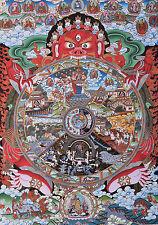 "32"" BROCADE SCROLL TIBETAN THANGKA SAMSARA BHAVACHAKRA, WHEEL OF LIFE="