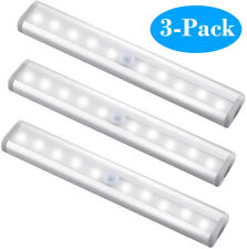10 LED Motion Sensor Closet Lights Cordless Under Cabinet Lightening Bar 3-Pack