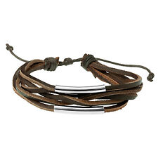 Men's Brown Leather & Steel Multi Strand Bracelet Wristband by Urban Male