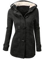 Womens Thicken Fleece Warm Winter Coat Hooded Parka Overcoat Jacket Outwear UK