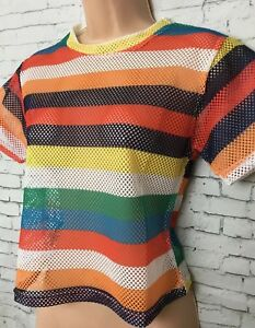 NEW CARPE DIEM S 8-10 Rainbow Stripe Fishnet T-shirt Top