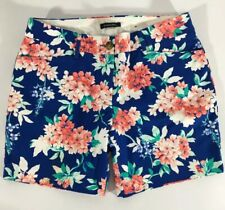 Lands End Womens Chino Blue Floral Shorts Size 8 Petite