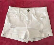 SO Size 5 Womens Juniors White Denim Distressed Short Shorts