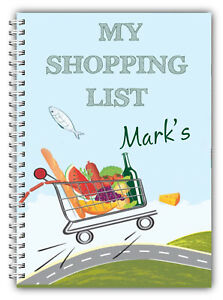 A5 NOTEBOOK PERSONALISED 100 LINED BLANK PAGES SHOPPING LIST GIFT WIRE BOUND 01