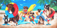 "30"" x 60"" Cool Dogs At The Beach Velour Beach Towel"