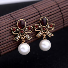Women Elegant Earrings Stud Bow Crystal Rhinestone Jewelry Big Pearl Red Flower