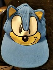 Sega Sonic The Hedgehog Face Blue Snap Back I'm Outta Here Cap Hat w/ Ears