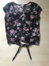 Floral Pink Black Lace Tie Up Crop Sheer Top New Look 10
