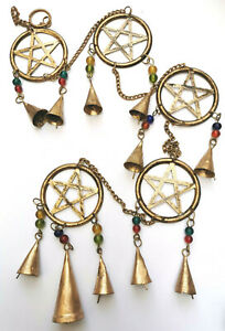 String of Pentacles garden or house wind chime suncatcher mobile Pagan Wicca
