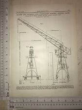 Compensated Electric Luffing Crane Made In Bath: 1912 Engineering Magazine Print