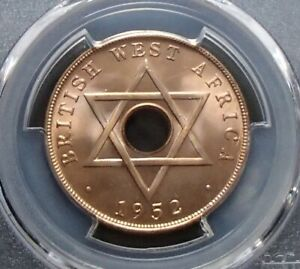 1952-H British West Africa One Penny 1d Coin - George V - PCGS Graded MS65RD