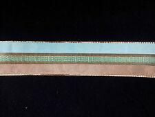 Wire Edge Christmas Ribbon 38mm Aqua Green Gold stripe New