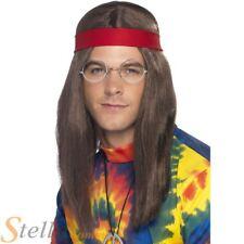 Hombre Hippy Disfraz para hombre Kit AÑOS 60 AÑOS 70 Peluca Gafas Medallón