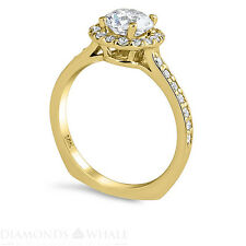 Wedding Round Enhanced Diamond Ring Solitaire Accents SI2/G 1.49 TCW Yellow Gold