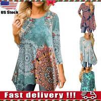 ️Womens Irregular Floral Tunic Tops Ladies Casual 3/4 Sleeve T Shirt Blouse Tee