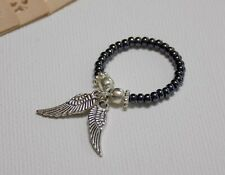 DOUBLE ANGEL WING Charm Beaded Stretch Stacking Thumb Ring