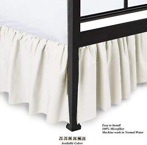100%Microfiber Ruffle Bed Skirt Split Corner Ivory Queen/King All Size Bedskirt