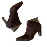 Stuart Weitzman Suede Ankle Boots Size 9 Heels Womens Brown