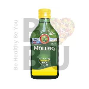MOLLERS Fish Cod Liver Oil OMEGA3 Vit A+E+D3 600 IU TRAN LEMON 250ml UK STOCK
