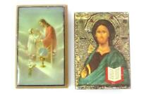 Lot of Two Small Holy Religious Figure Pictures Jesus and Saint Italy