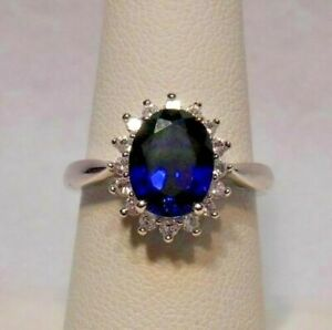 Kay Jewelers~Blue & White Sapphires Halo Ring 925 Sterling Silver Size 7 NEW
