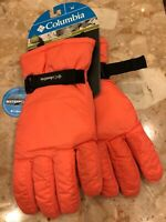 Columbia Gloves Size Youth Med Omni Shield Water Repellent Orange Black