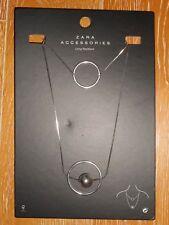 ZARA long collier multi rang double anneaux Circle et boule laiton argenté Neuf