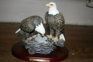 Amy and Addie Grey Rock Collection Eagle Pair on Nest with Baby