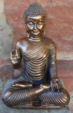 Skulptur Buddha im Lotussitz Figur Farbe Kupfer Neu