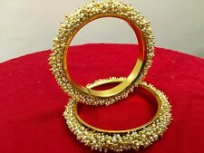 Indian Traditional Ethnic 2PC Gold Plated Kada Jewelry Bangles Bracelets Set