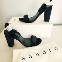 NIB Sandro Paris adrianne velvet block heels FLAW women's size 38 US 7-7.5 black