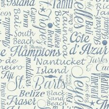 Nantucket Nautical Beach Verbage in Blue Wallpaper NY4827