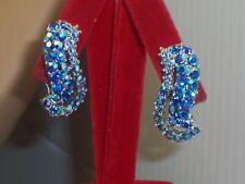 Vintage Blue Ab Rhinestone Big Upward Swirl Silver Tone Clip on Earrings Euc