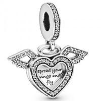Heart and Angelwings PANDORA Charmanhänger 925er Sterlingsilber 798485C01