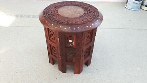 Indian Hand Carved 12 inch Sheesham Jali Wooden Side Table with Brass Inlay.
