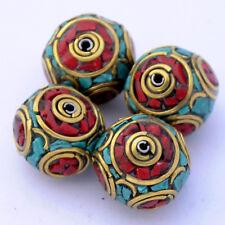 Turquoise Coral Brass 4 Beads Gypsy Boho Bohemian Ethnic Tribal Nepal AA32