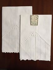 Scallop Hemstitch Dots Irish Linen Guest Towels Hand Embroidery: Set of 2 G71249
