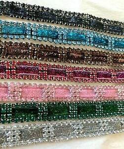 "Vintage Rhinestones Mesh 1960s Removable Glitter Ribbon 3/4"" Trim 1yd"