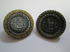 Lot of 2 VINTAGE METAL PICTURE BUTTON Embossed Building