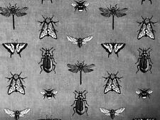 Grey Bugs Insects Fabric Bee Moth Butterfly Print Cotton Curtains Dress 55''wide