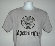 MENS JAGERMEISTER T SHIRT LARGE BLACK STAG LOGO FRONT GRAY