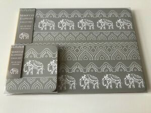 Set of 4 Grey Moroccan Elephant Placemats & Coasters Dinner Dining Table Mats