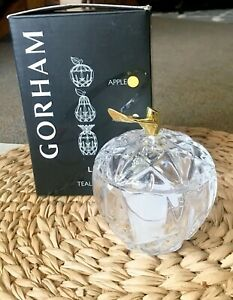 NIB Gorham Crystal Lady Anne Apple Votive Candle Holder