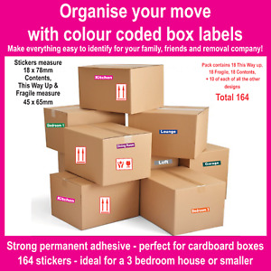 Home Moving Colour Coded Cardboard Box Labels Stickers - Organise Your Move