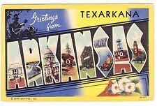 GREETINGS FROM TEXARKANA  ARKANSAS---------------1951 POSTCARD
