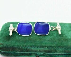 Vintage Sterling Silver Cufflinks Art Deco Blue Lapis Peaky Blinders Gift #L185