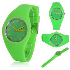 Colorful Womens Mens Sport Silicone Jelly Geneva Quartz Analog Wrist Watch