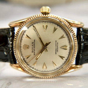 Rolex 1960 Oyster Perpetual 14K Yellow Gold Ref. 6593 Bombay Lugs