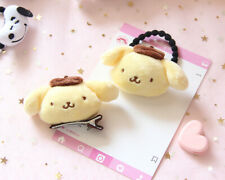 2PC Cute Pompompurin Pudding Dog Plush Doll Hair Ties Rope Clip Barrette Yellow